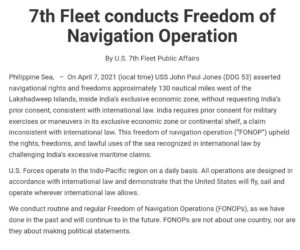 NEW  In unusual move, US navy's 7th Fleet conducts operation in Indian waters wi