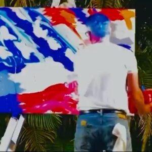 Tribute to Rush Limbaugh. Live painting. Trump National Resort Miami. Last ni