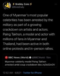 Read more about the article One of Myanmar's most popular celebrities has been arrested by the military as p