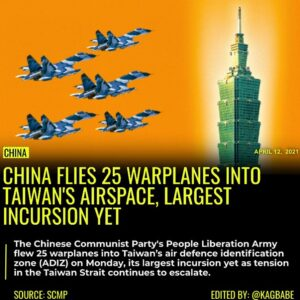 Read more about the article China's People Liberation Army flew 25 warplanes into Taiwan's air defence ident