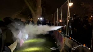 Read more about the article Police have begun spraying the crowd from behind the fence outside the police st
