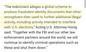 The indictment alleges a global scheme to produce fraudulent identity documents