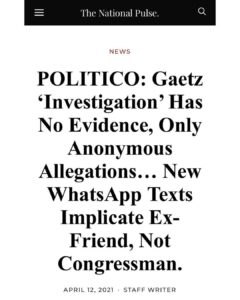 """POLITICO: Gaetz """"Investigation' Has No Evidence, Only Anonymous Allegations… N"""