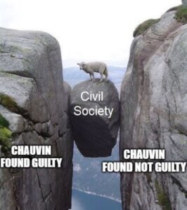 """so true. And how appropriate that a sheep is on top of the rock """"civil society."""