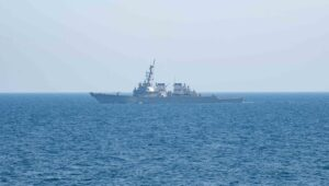 The guided-missile destroyer USS Laboon (DDG 58) sails in the @US5thFleet, April