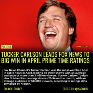 Read more about the article Fox News Channel's Tucker Carlson was the most-watched host in cable news in Apr