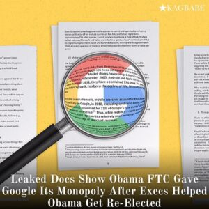 Read more about the article Leaked Docs Show Obama FTC Gave Google Its Monopoly After Execs Helped Obama Get Re-Elected