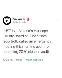 Read more about the article JUST IN – Arizona's Maricopa County Board of Supervisors reportedly called an emergency meeting this morning over the upcoming 2020 election audit.