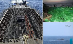 Read more about the article Navy seizes thousands of assault weapons hidden on ship 'sailing from Iran to Ye