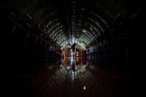 Space to reflect. A @usairforce airman walks through a KC-135 Stratotanker durin