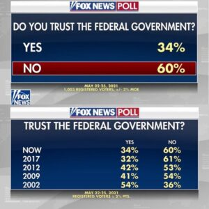 Read more about the article By a 60-34 percent margin, American voters distrust the federal government.  A m