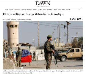 US to hand Bagram base to Afghan forces in 20 days KABUL: The US military will h