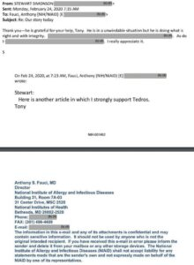 """Read more about the article #FauciEmails   """"Here is another article in which I strongly support Tedros."""""""
