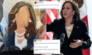 Read more about the article Kamala Harris is slammed for passing out cookies with her faceless head on Air F