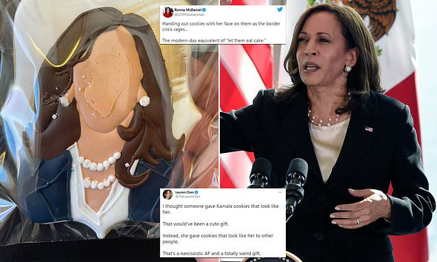 Kamala Harris is slammed for passing out cookies with her faceless head on Air F