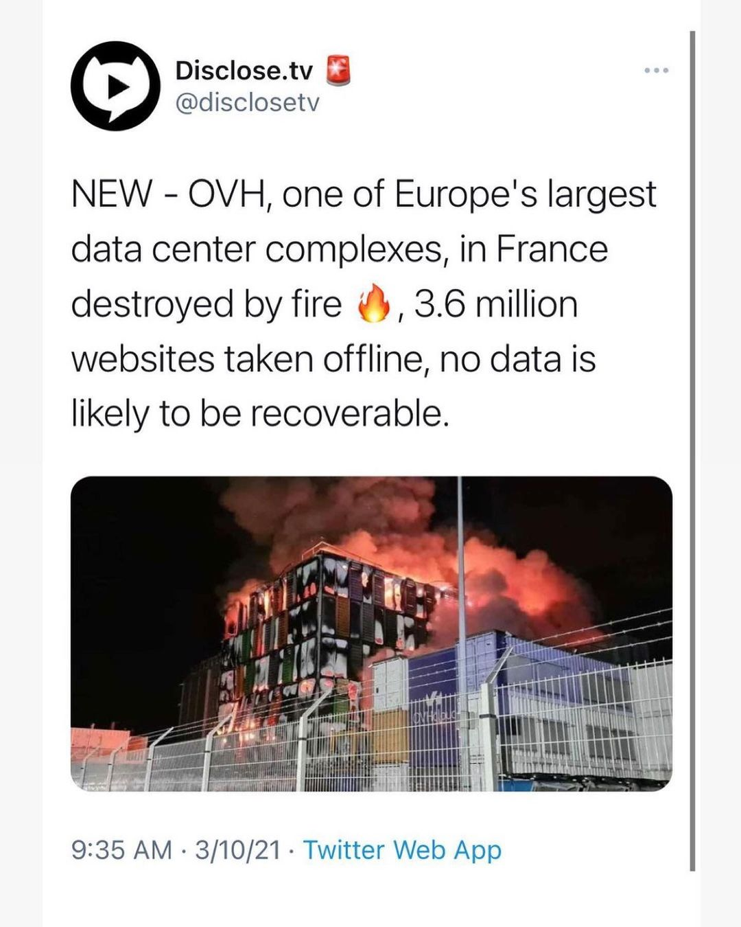 OVH, one of Europe's largest data center complexes, which 1. was a host for Wiki