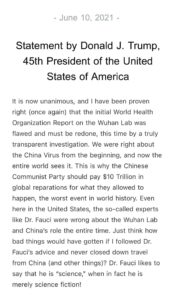 Read more about the article JUST IN – Trump says he has been proven right that WHO report on Wuhan Lab was f
