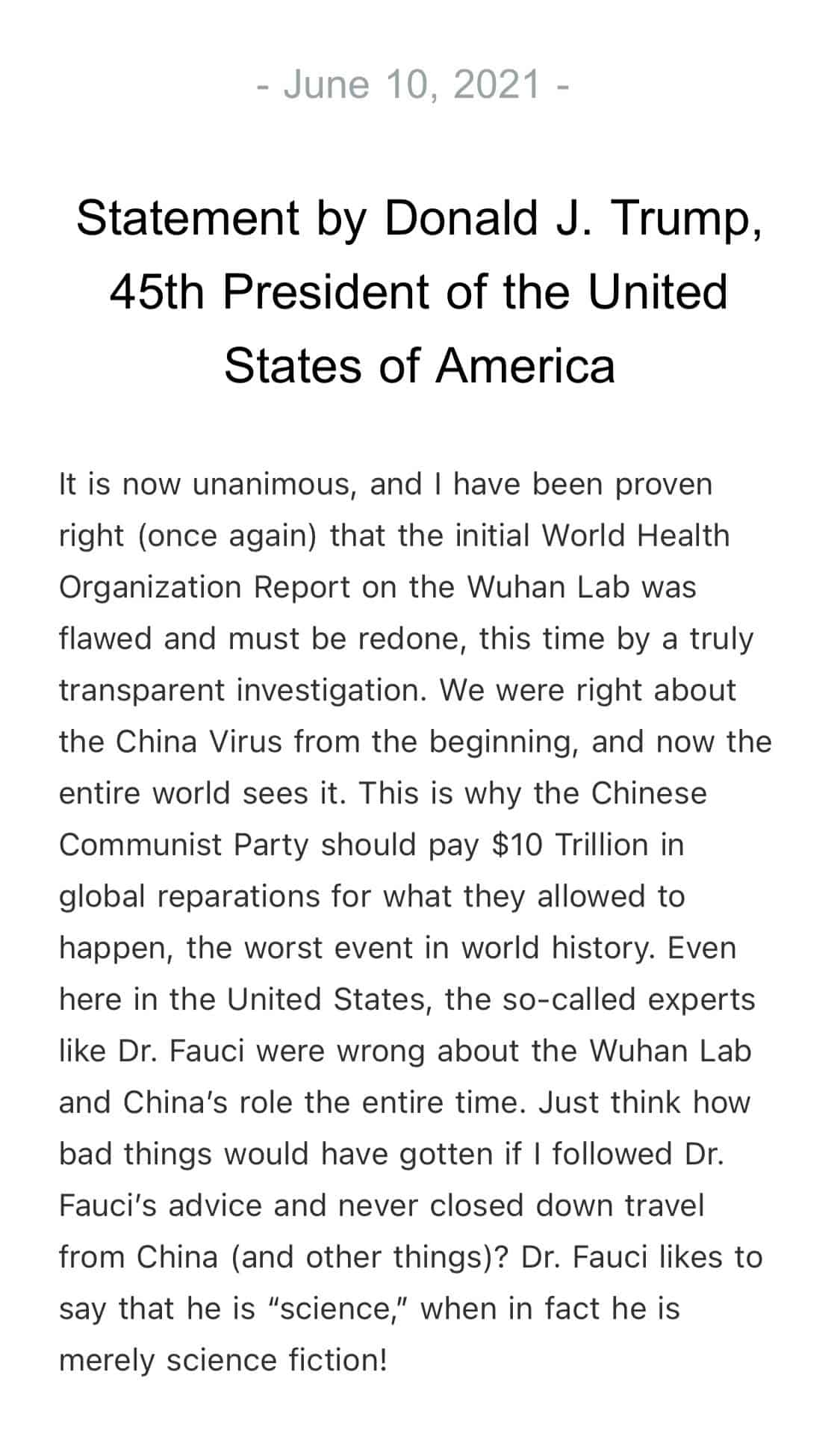 JUST IN – Trump says he has been proven right that WHO report on Wuhan Lab was f