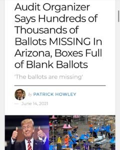 Reports of over 200k missing ballots in Arizona Audit. Meaning Trump actually wo