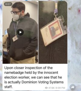 Read more about the article Upon closer inspection of the namebadge held by the innocent e_ection worker, we