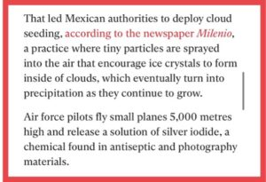 """""""Tiny particles are sprayed into the air that encourage ice crystals to form ins"""
