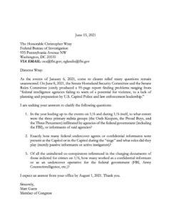 NEW – Congressman Matt Gaetz calls on FBI Director Wray to fully disclose the ro