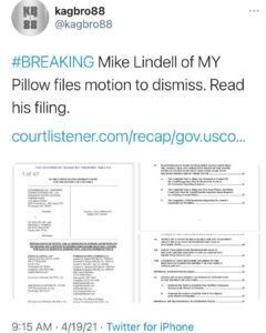 Mike Lindell of MY Pillow files motion to dismiss. Read his filing.