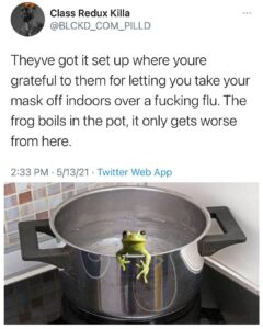 The boiling frog is a fable describing a frog being slowly boiled alive. The pre