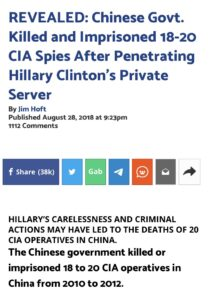 Read more about the article Oh you must remember?  REVEALED: Chinese Govt. Killed and Imprisoned 18-20 CIA S