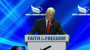 Read more about the article JUST IN – Crowd at the Faith and Freedom Coalition heckling Mike Pence and calli