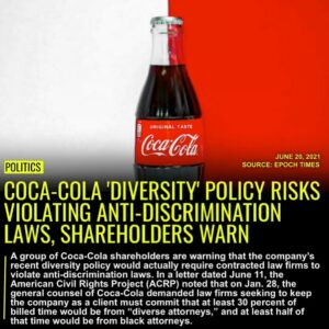 Read more about the article A group of Coca-Cola shareholders are warning that the company's recent diversit