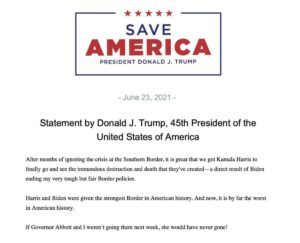 Read more about the article INBOX – Trump on the upcoming Harris border visit.