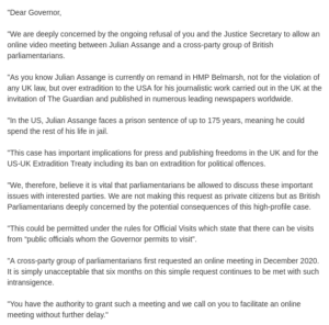 Read more about the article A Cross party group of UK politicians will today deliver a letter to Belmarsh pr