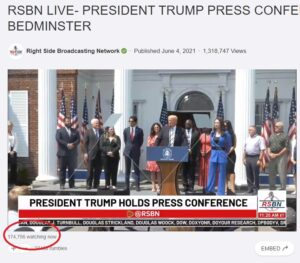 Read more about the article 192,000 Americans Watch President Trump's Announcement to Sue Twitter, Facebook, Google on RSBN — Joe Biden Lucky to Get 1,000