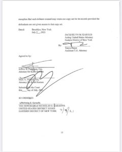 Read more about the article See post regarding USA v Keith Raniere (NXIVM) stipulated order. It has been sig