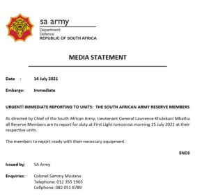 JUST IN – South Africa calls up all members of the Army Reserve.