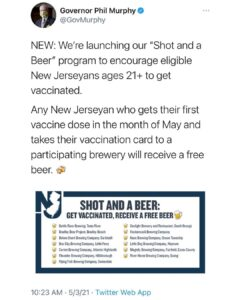 Read more about the article New Jersey governor bribing imbeciles with free beer in exchange for vaccinatio