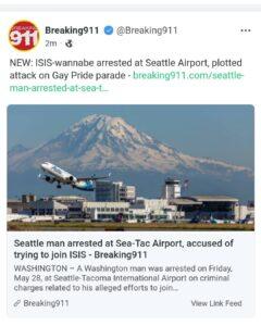 WASHINGTON – A Washington man was arrested on Friday, May 28, at Seattle-Tacoma