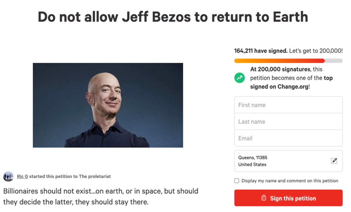 Nearly 165K people sign online petition for Jeff Bezos to stay in space