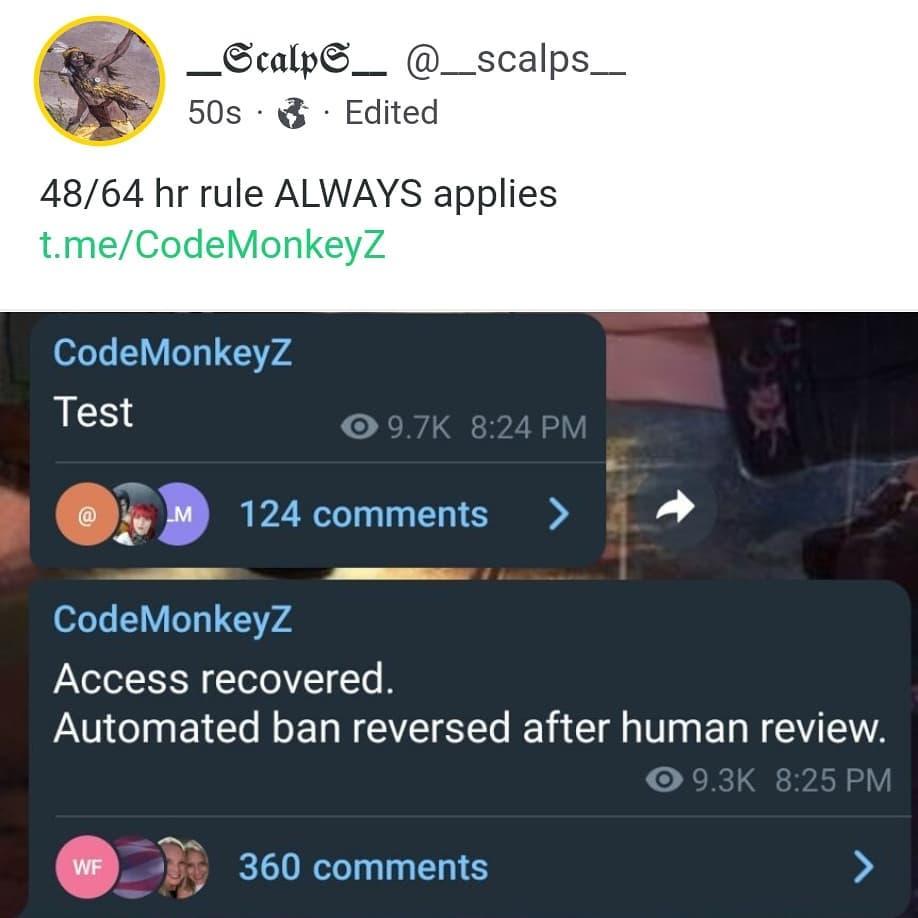 Automated Error. CM telegram access returned