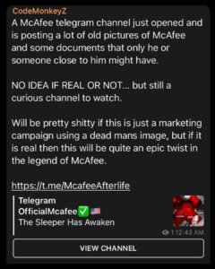 Read more about the article CodeMonkeyZ highlights John Mcafee account that you should watch but admits it c