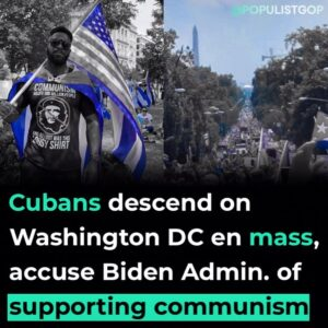 Read more about the article A sea of pro-freedom supporters descended upon the Cuban Embassy in Washington,