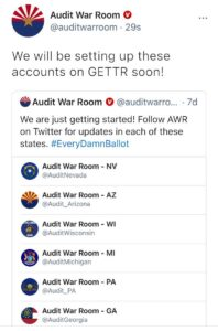 Read more about the article Follow all the Audit War Room accounts on GETTR!