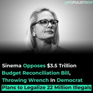Read more about the article Sen. Kyrsten Sinema (D-AZ) does not support the Democrats' $3.5 trillion budget