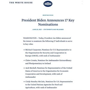 Read more about the article More coincidence H/t – President Biden Announces 17 Key Nominations