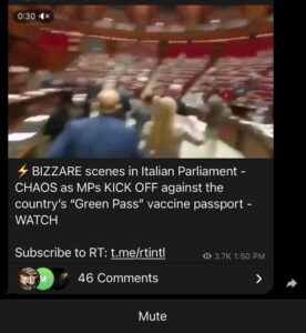 """Read more about the article VIDEO: 4 BIZZARE scenes in Italian Parliament – CHAOS as MPs KICK OFF against the country's """"Green Pass"""" vaccine passport"""