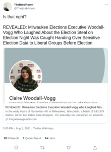 Read more about the article REVEALED: Milwaukee Elections Executive Woodall-Vogg Who Laughed About the Election Steal on Election Night Was Caught Handing Over Sensitive Election Data to Liberal Groups Before Election