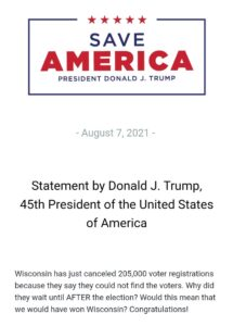 """Read more about the article NEW!  """"Wisconsin has just canceled 205,000 voter registrations because they say"""