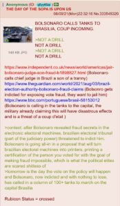 Read more about the article From /pol/:  BOLSONARO CALLS TANKS TO BRASILIA, COUP INCOMING.  >NOT A DRILL