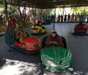 Read more about the article Talibros riding bumper cars in Herat after capturing the city.  الله خير